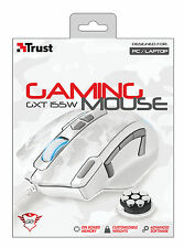 TRUST 20852 WHITE ELITE GAMING MOUSE GXT155W CUSTOMISABLE WEIGHTS ONBOARD MEMORY