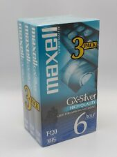 Pack of 3 Blank MAXELL T-120 GX-Silver High Quality VHS Video Tapes. NEW, Sealed
