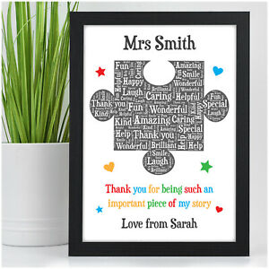 Personalised Thank You Teacher Gifts Puzzle Piece School Nursery Leaving Gifts