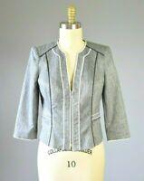 WHITE HOUSE BLACK MARKET Gray Structured Zip Front Jacket Size 8