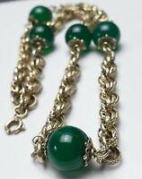 Art Deco Collier 925 Silber vergoldet grüne Achat-Kugeln 30er/40er Jahre /A437