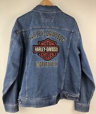 Harley Davidson Motorcycle Biker Sewn Bar Shield Denim Jean Trucker Jacket XL