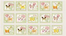 Butterflies Flower Fabric - Butterfly Botanical Plant Flora #9848P HG&Co - PANEL