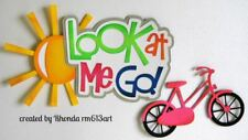 LOOK AT ME GO BIKE GIRL title paper piecing Premade Scrapbook Pages by  Rhonda