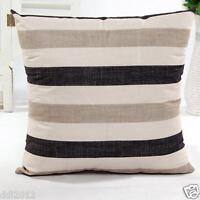 Cotton Linen Cushion Cover Sofa Bed Home Decor Throw Stripe Waist Pillow Case