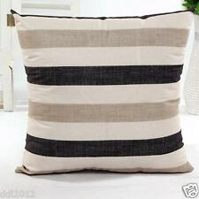 Cotton Linen Cushion Cover Sofa Bed Home Decor Throw Stripe Waist Pillow Case