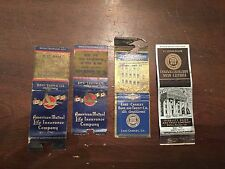 Vintage Banking and Insurance Advertising Matchbook Cover Lot of 4