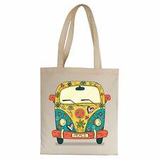 Hippie van illustration design tote bag canvas shopping