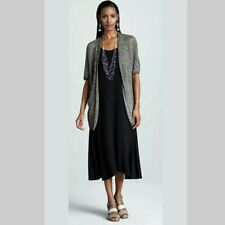 Eileen Fisher Dress Womens XL Solid Black Sleeveless