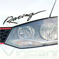 Adesivo sticker RACING auto per Volkswagen Polo Golf tuning NERO 29x7 cm. RNG1