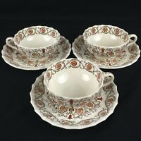Set of 3 VTG Cups and Saucers by Spode Copeland Sorrento Orange Floral England