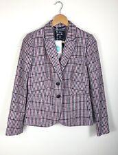 NEW Ladies BODEN Size 8 Blazer Moon British Tweed Jacket Purple Check RRP £150