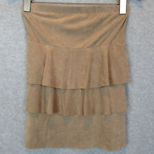 Wet Seal Tan Size Medium Faux Suede Tiered Skirt
