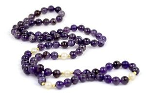 """14k Yellow Gold 8mm Amethyst & White Pearl Beaded 32"""" Single Strand Necklace"""