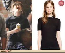 Tory Burch Rolanda Sweater Cashmere Silk Black Ruffle Neck Short Sleeve M