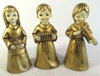 "Vintage 6"" Choir Christmas Angels Gold Paper Mache Korean Set of 3 Trio Musician"