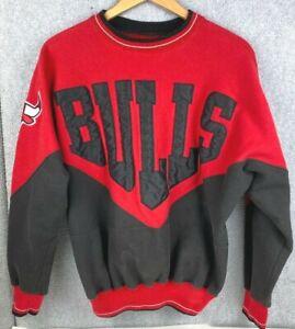 Vintage 1990s Chicago Bulls Sweatshirt Size Large Bold Bulls Appliqué Collector