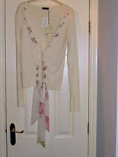 CREAM CARDIGAN WITH PEARL BUTTONS AND FLORAL CHIFFON EMBELLISHMENT NEW WITH TAGS
