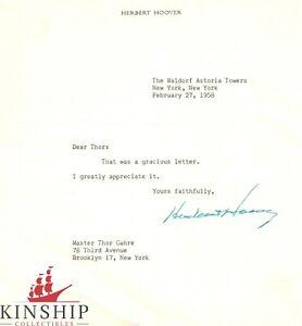 President Herbert Hoover signed Letter c.1958 JSA LOA Bold Auto d.1964 Z400