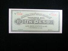 1915 MEXICO LAS DOS ESTRELLAS UN PESO TLALPUJAHUA, MICH BANKNOTE   X123
