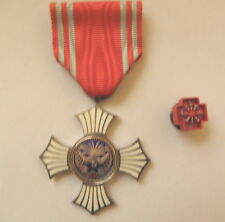 JAPANESE RED CROSS MERIT SILVER ENAMEL WITH LAPEL PIN AND LACQUER BOX
