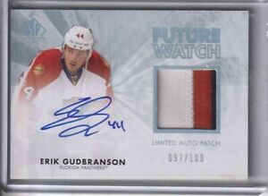 2011-12 SP AUTHENTIC ERIK GUDBRANSON FUTURE WATCH AUTO PATCH RC ROOKIE 097/100