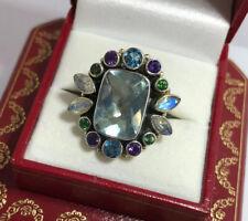 Vintage Nicky Butler Sterling Silver Multi Gemstone Blue Topaz Amethyst Ring 7