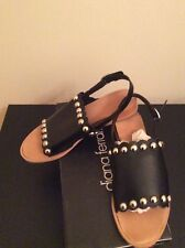 NEW DIANA FERRARI LEATHER SLING BACK SANDALS -  IN BLACK SIZE 8 1/2 RRP $119.95