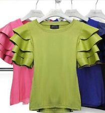 Gracia peplum sleeve top in lime green