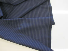 Navy Striped Wool & Cashmere Suiting Fabric. Made In England by Bower Roebuck
