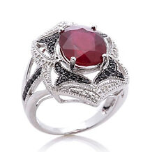 RARITIES Carol Brodie Ruby Black Spinel  White Diamond Sterling Ring 10 $489