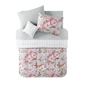VCNY 8 Pc Floral Adley Blush Reversible Bed in a Bag Full Comforter set NEW FULL