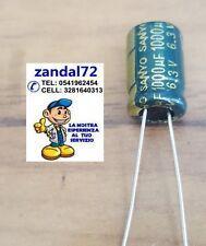 10 PEZZI CONDENSATORE ELETTROLITICO VERTICALE 1000uF 6,3V 105° 8x12 PASSO 3,5mm