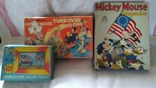 Vintage Disney Mickey Mouse Magazine & Flying Donkey puzzles, Turnover Choo Choo
