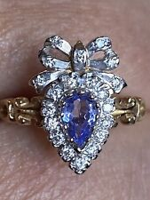 Vintage 9Ct Gold Tanzanite (0.5) Diamond Heart Bow Ring Ex Con Not 18ct size L