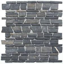 Mosaïque carreau marbre pierre naturelle noir brique bain 40-0210_f | 10 plaque