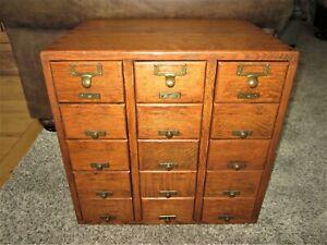 Tiger Oak Brass Library Card Catalog Victorian 15 Drawer Storage File Cabinet