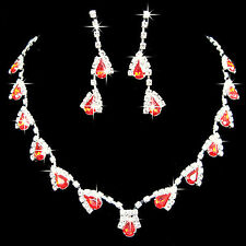 Bridal Jewelry Set Crystal Rhinestone Diamante Necklace Earring Red Silver Party