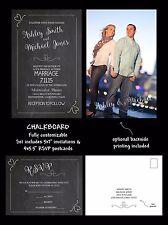 Wedding Invitations Chalkboard Hearts 50 Invitations & RSVP Cards