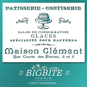 Shabby Chic STENCIL: French Pastry Patisserie Advert (DIY Furniture Print) #024