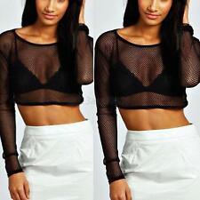 Summer Sexy Crop Tops Women Sheer Mesh Party T-shirt Long Sleeve Blouse Clothing