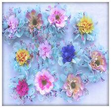 Appliques mixte fleurs double en tissu chiffon bleu fleurs tissu