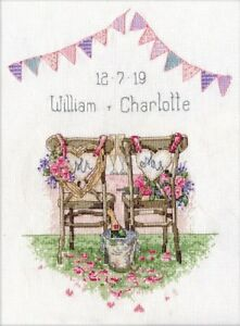 Design Works ~ Counted Cross Stitch Kit ~ Wedding Chairs ~ Wedding Record - 2993