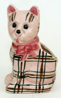 "Vintage Pottery Cat Planter Made in Japan Mid Century 5.75"" Pink Plaid VGC"