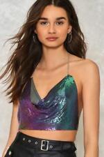Stunning Sequin Metal Mesh Backless Crystal Chain Choker Halter Neck Sexy Dress
