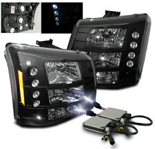 2003-2006 CHEVY SILVERADO AVALANCHE LED HEADLIGHTS BLACK SET 2IN1+10000K HID KIT