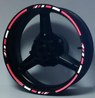 3M REFLECTIVE RED WHITE MOTORCYCLE RIM DECALS WHEEL STICKERS STRIPES TAPE VINYL