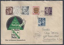 Germany 1947 France Us Illustrated Greeting Cover W/French Zone Issues Pfaffendo