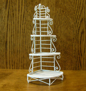 "Doll/Teddy Miniature White Metal Furniture, #W79-2 BAKERS RACK, 7.75"" x 3.5"""
