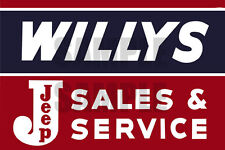 WILLYS JEEP SERVICE SHOP WEATHERED BUILDING SIGN DECAL 3X2  MORE SIZES AVAIL